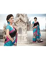 Alluring Black, Cyan Blue & Off White Cotton Silk Embroidered Saree
