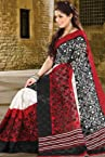Venetian Red and Black Bhagalpuri Silk and Jacquard Printed Saree