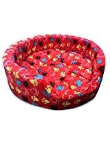 Dog Bed Medium With Paws in Red