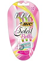 BIC Soleil Bella Scented Disposable Four Blade Shaver, Women, 3 Count Package