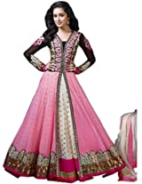 Heavy Pink Georgette and Soft pink Anarkali Suit