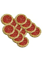 AsiaCraft Red & Gold Décor Indian Handmade Beaded Coffee, Tea Coaster 4.2 Inches Set of 12