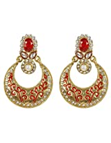Muchmore Collection Gold Plated Red-White Crystal Made Fashion Earring For Women Gift Jewelry