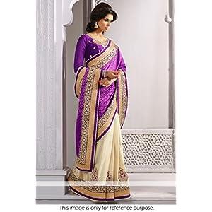 Ninecolours Bollywood Jacquard Saree - Purple & Cream