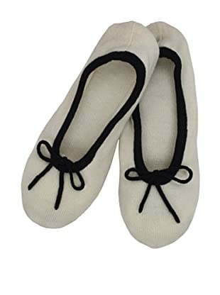 a&R Cashmere Slippers with 2 Tone Trim (Crème Fraiche)