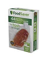 FoodSaver FSFSBF0226-FFP Bags with Unique Multi Layer Construction Vacuum Sealers, 44 Quart Size Bags, Clear