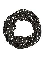 Star Print Infinity Scarf (Black)