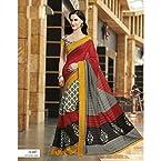 Designer Red Bhagalpuri Mysore Silk Saree