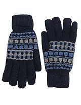 Romano Men's Blue Woollen Winter Gloves