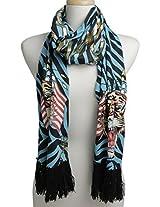 Ed Hardy Womens Flag Tiger Knit Scarf -Blue/Black
