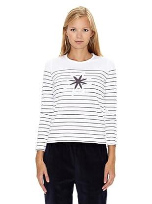 North Company Camiseta Flor (Blanco / Morado)