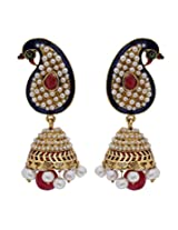 Hyderabadi Abhushan peacock shaped earrings with red and white pearls