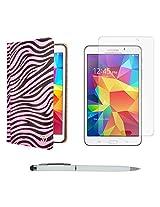 VG Zebra Print Mary Portfolio Multi Purpose Book Style Slim Flip Cover Case for Samsung Galaxy Tab4 T330/T331 8.0 (Pink) + Ball Pen Stylus + Matte Screen
