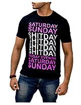 Londonhouze Men's Round Neck T-Shirt (LHW3D012XL_Black_X-Large)