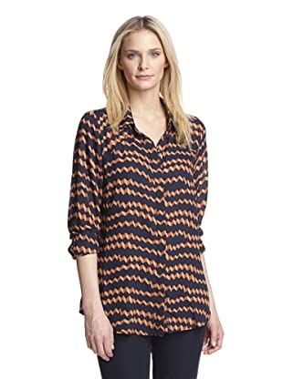Isabel Lu Women's Long Sleeve Shirt (Navy Geometric Print)