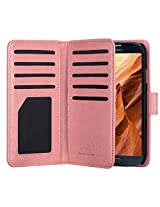 ULAK Hybrid 9 Cards Slot Magnetic PU Leather Folio Wallet Case for Samsung Galaxy S4 IV i9500 Dual Layer Card Holder Photo Slot Flip Cover w/ Wrist Strip (Coral Pink)