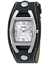 XOXO Women's XO3169 Silver Dial Black Strap Watch