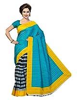 ISHIN Bhagalpuri Silk Blue & Black Printed Saree