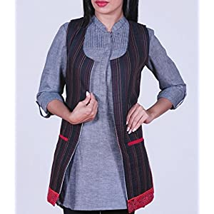 Black jacket with orange and red stitch-lines