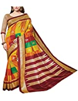 Shree Padam Designer Women's Self Print Saree (PS1655, Yellow)
