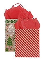 The Gift Wrap Company HALF09-9659 Kraft Bag (24 Pack), Size 2, Yuletide Timber, Multicolor