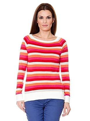 Cortefiel Pullover Streifen (rosa/weiß/beige)