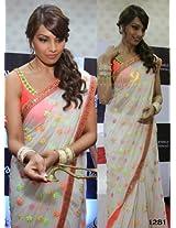 Bollywood Replica Bipasha Basu Chiffon Saree In Off White Colour
