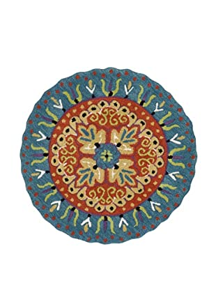Loloi Rugs Azalea Collection Round Rug (Coral/Teal)