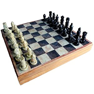 "StonKraft 10"" Hand-carved Chess Board with Wooden Base but Stone Inlaid Work - Chess Game Board Set with Handcrafted Natural Stone Piece"
