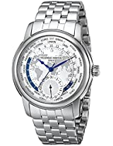 Frederique Constant Men's FC718WM4H6B World Timer Analog Display Swiss Automatic Silver Watch