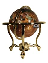 Unique Art 13-Inch Tall Table Top Amberllite Pearl Gold Stand Gemstone World Globe with Gold Tripod Stand
