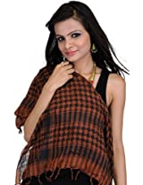 Exotic India Womens Cotton Scarves ,Brown And Black ,Free Size