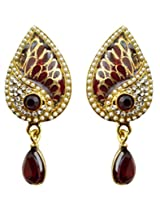 Dhwani Creation Alloy Drop Earrings for Women and Girls (Maroon)