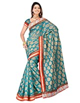 Sehgall Saree Indian Ethnic Professional Material Faux Silk Banarasi Weave Rama