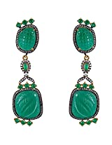 Be You Magnificent Green Colour Diamond Look Rhodium Plated Brass Dangle Earring for Women