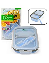 Collapsible Lunch Box- Silicone Kids Food Storage with Two Compartments In Blue By DEco