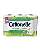 Cottonelle Gentle Care Toilet Paper with Aloe and E, Double Roll, 12 Count (Pack of 4)