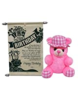 Teddy With Birthday Scroll Card