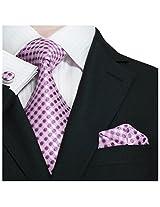 """Landisun 11N Polka Dots Mens Silk Necktie Set:Tie+Hanky+Cufflinks White Pink Purple, 3.75""""W x 66""""L"""