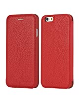 Apple iPhone 6 Case, Rock Jazz Series - Slim Leather iPhone Protective Flip Case - Red