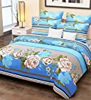 Home Candy 100% Cotton Blue Stripes and Flowers Double Bed Sheet with 2 Pillow Covers