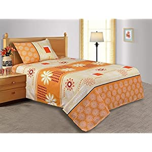 Salona Bichona Floral Polycotton Single Bedsheet with 1 Pillow Cover - Cream (DR-2PCS-12A)