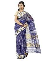 B3Fashion Handloom Traditional Royal Blue Dhakai Jamdani cotton saree with white and yellow polka dots