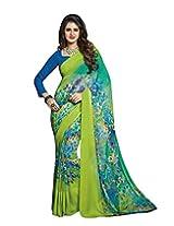 Surat Tex Green Silk Daily Wear sari with Blouse Piece