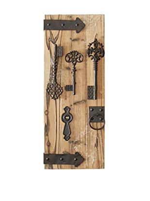 Wooden & Metal Assorted Key Wall Panel, Set of 2
