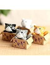 FD2196 Sweet Cats in Box Miniature Dollouse Garden Craft Fairy Bonsai Decor 1PC