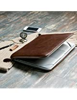 GMYLE Brown Premium Quality PU Leather With Crazy Horse Pattern Dual Zipper Sleeve Bag Skin Case Cover For Apple Macbook Pro 13-inches