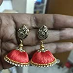Silk thread Jhumka With antique gold Peacock Stud by Sayee Creation