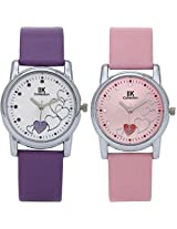 IIK Collection Combo of Women's Analog Watches, Round White Dial With Purple Leather strap & Round Pink Dial With pink Leather Strap IIk-1501W-1502W