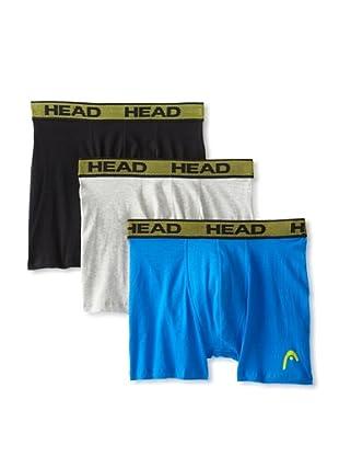 HEAD Men's Stretch Boxer Brief - 3 Pack (Black/Heather Grey/Blue)